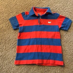 Vineyard vines boys red and blue polo 3T.
